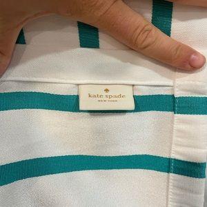 Kate Spade White Stripe Fabric Shower Curtain